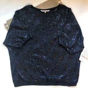 Rachel Roy black sequin blouson sweater Large